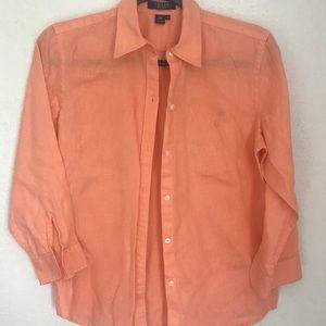 4/$20 Chaps light orange 3/4 sleeve button down